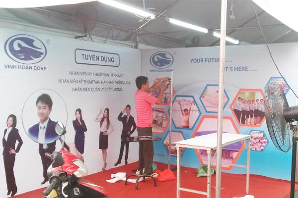 Quầy booth tuyển dụng Vĩnh Hoàn tại ĐH. Nông Lâm Tp.HCM